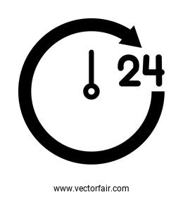 24 hours clock icon, silhouette style