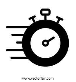 fast stopwatch icon, silhouette style