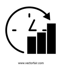 clock and bar graphic chart icon, silhouette style