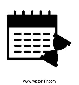 calendar planner and hourglass icon, silhouette style