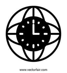 global sphere with clock icon, silhouette style