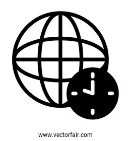 clock and global sphere icon, silhouette style