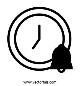 clock and bell icon, silhouette style