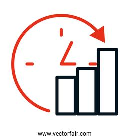 clock and bar graphic chart icon, half line half color style