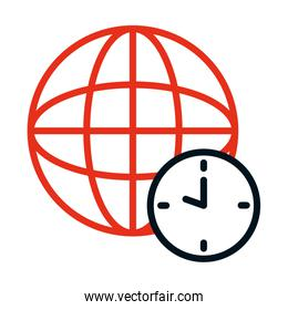 clock and global sphere icon, half line half color style