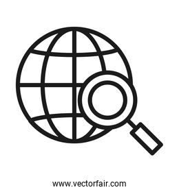 global connection sphere with magnifying glass, line style