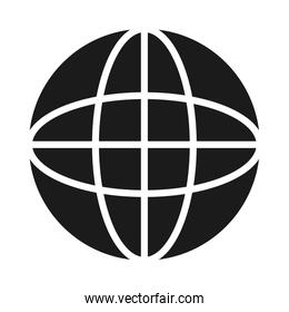 global connection sphere design, silhouette style