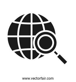 global connection sphere with magnifying glass, silhouette style