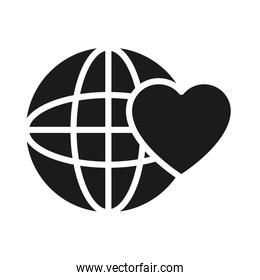 global sphere with heart icon, silhouette style