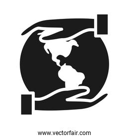 hands with earth planet icon, silhouette style
