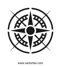 Compass icon, Wind rose star navigation, silhouette style