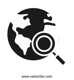 earth planet with magnifying glass icon, silhouette style