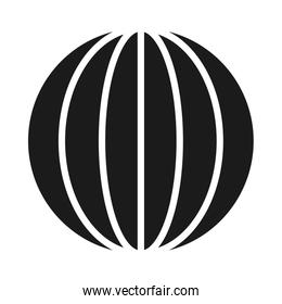 striped global sphere icon, silhouette style
