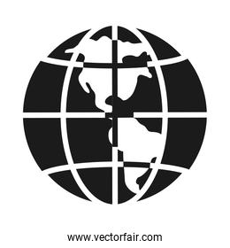 global planet sphere icon, silhouette style