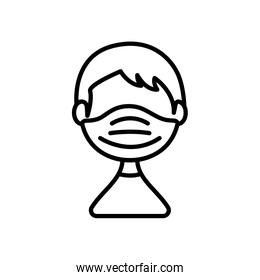 avatar man with medical mask icon, line style