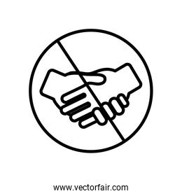 prohibited handshake concept, forbidden sign with handshaking icon , line style