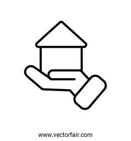 hand holding a house icon, line style