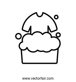 bucket with soapy water and washing clothes icon, line style