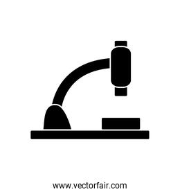microscope tool icon over white background, silhouette style