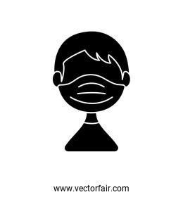 avatar man with medical mask icon, silhouette style