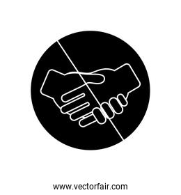 prohibited handshake concept, forbidden sign with handshaking icon , silhouette style