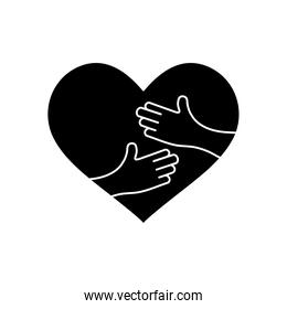 heart with hands icon, silhouette style