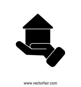 hand holding a house icon, silhouette style