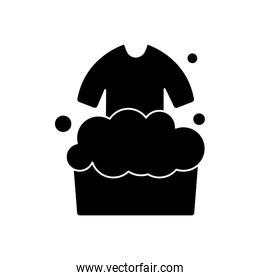 bucket with soapy water and washing clothes icon, silhouette style