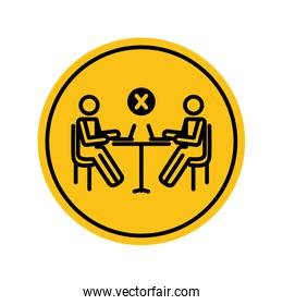social distancing concept, pictogram persons working at table with laptop computer with prohibited cross icon, block silhouette style