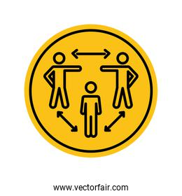 social distancing diagram with pictogram people and arrows, block silhouette style