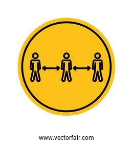 social distancing concept, pictogram people keeping the social distancing, block silhouette style