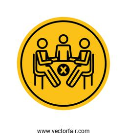pictogram people sitting at table and prohibited cross icon, block silhouette style