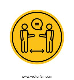 social distancing concept, pictogram men talking keeping the social distancing, block silhouette style