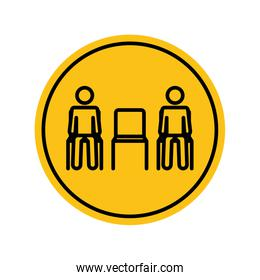 pictogram people sitting with a chair between them keeping the social distancing, block silhouette style