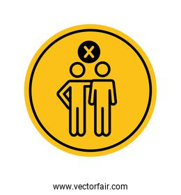 social distancing concept, pictogram persons hugging with prohibited cross icon, block silhouette concept
