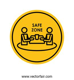 pictogram men at table in the safe zone, block silhouette style