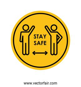 stay safe concept, pictogram people waving keeping the social distancing, block silhouette style