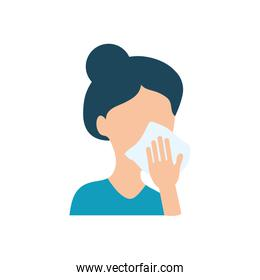 avatar woman cleaning her mouth with tissue, flat style