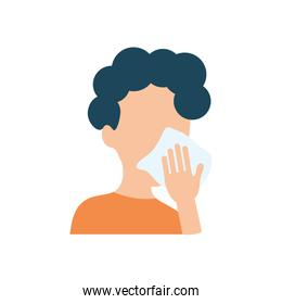 avatar man cleaning her mouth with tissue, flat style