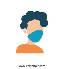 avatar man with protective mouth mask icon, flat style