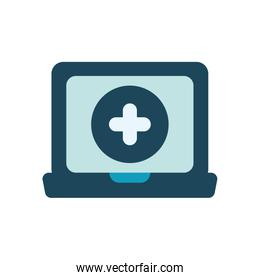 laptop computer and medical cross icon, flat style