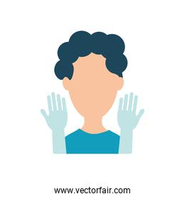 avatar man wearing protective medical gloves, flat style