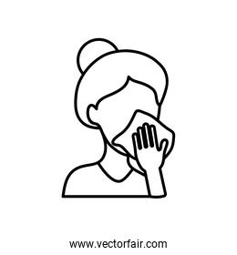 avatar woman cleaning her mouth with tissue, line style