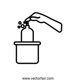 hand pushing a soap bottle design, line style