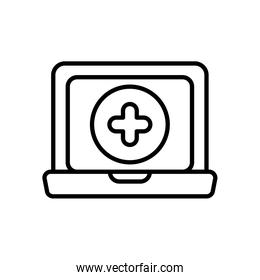laptop computer and medical cross icon, line style