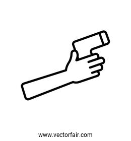 hand holding a infrared thermometer icon, line style
