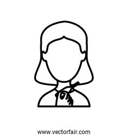 avatar woman with digital thermometer icon, line style