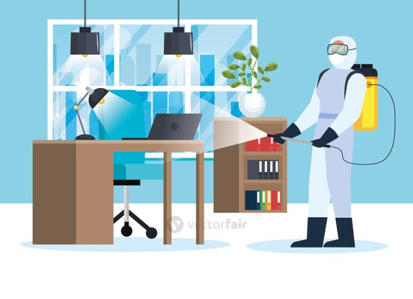 Man with protective suit spraying office vector design
