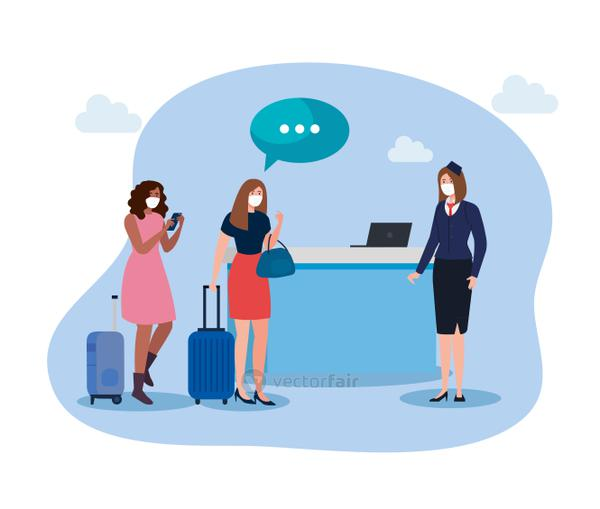 Stewardess and people with medical masks and bags vector design