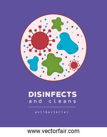 Covid 19 virus and desinfects vector design